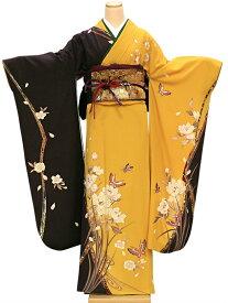 【レンタル】 振袖 レンタル 成人式 着物 セット 黄色に焦げ茶花に蝶40