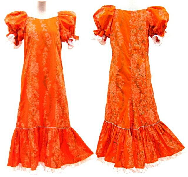 【訳あり】【送料無料】フラダンスドレス ワンピース オレンジ色地にハイビスカス柄ゴールドラメ・パフスリーブ