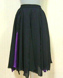 【送料無料】黒×紫のスリットが深い8枚ハギダンス用スカート