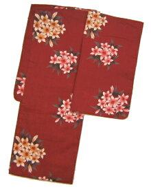 【あす楽】赤色地に花柄お仕立てあがり浴衣【女物浴衣】