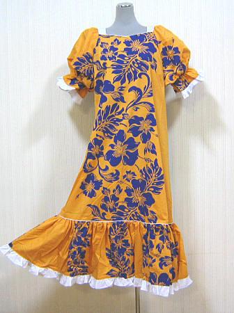 【訳あり】【送料無料】4サイズございます。フラダンスドレス ワンピース カラシ色地に紺のハイビスカス