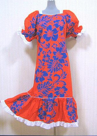 【訳あり】【送料無料】4サイズございます。フラダンスドレス ワンピース オレンジ色地に紺のハイビスカス