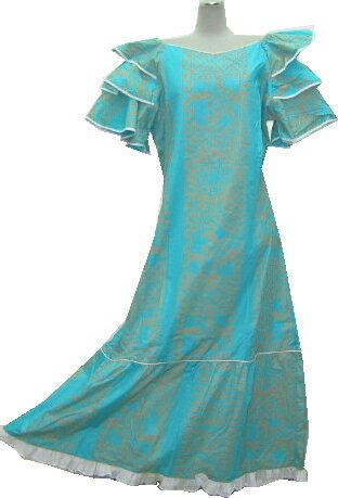 【訳あり】【送料無料】サイズ色々ございます。フラダンスドレス ワンピース ペパーミントグリーン地にホヌ柄(亀柄)緑色