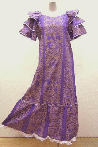 【訳あり】【送料無料】フラダンスドレス ワンピース 紫色地にホヌ柄(亀柄)