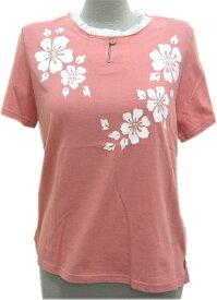 【メール便可】フラダンス 練習用Tシャツ 首フリル ピンク色 綿100%