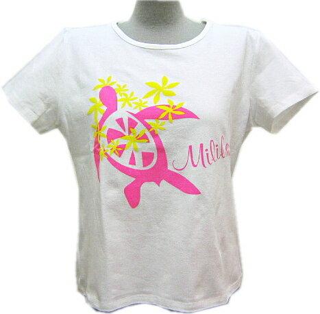 【メール便可】フラダンス 練習用Tシャツ 丸首 綿・ポリエステル 白地にピンク 亀柄 Mサイズ・Lサイズ