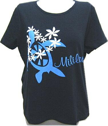 【メール便可】フラダンス 練習用Tシャツ 丸首 綿・ポリエステル 黒地にブルー 亀柄 Mサイズ・Lサイズ