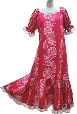 【訳あり】【送料無料】フラダンスドレス ワンピース 濃いピンク地にハイビスカス柄