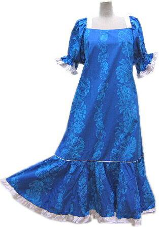 【訳あり】【送料無料】色々なサイズございます。フラダンスドレス ワンピース ブルー色地にハイビスカス柄