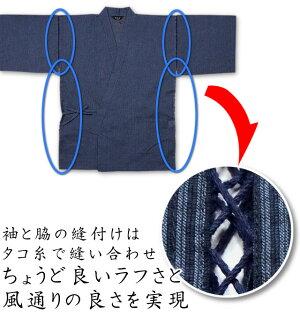 袖と脇は紐で