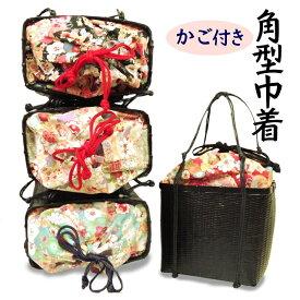【送料無料】浴衣に最適。和風花柄 角型 竹かご付き巾着バッグ。 普段使うスマートフォンや財布などを入れやすいちょうど良いサイズの可愛いバッグです。 夏バッグ 巾着 浴衣用 カジュアルバッグ【あす楽】