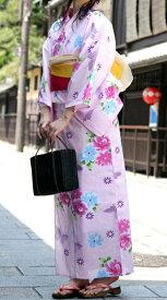【あす楽】うすいピンク地に花と蝶柄 お仕立て上がりゆかた 変わり織り フリーサイズ レディース 単品