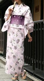 【あす楽】ピンク色地に鹿の子と菊柄 お仕立て上がりゆかた 変わり織り フリーサイズ レディース 単品