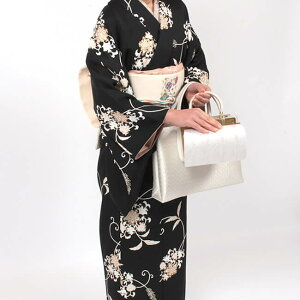 【和装バッグ】A4a4手提げバッグ「日本製」和装用着物バッグ正絹帯地トートバッグサブバッグ銀地七宝文