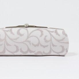 クラッチバッグ フォーマル 和装バッグ パーティーバッグ グレー系/正絹博多織帯地 横長 日本製 衿秀/和想庵 チェーン付き 和洋兼用