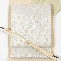 名門「河合美術織物」特選西陣袋帯フォーマル袋帯「七宝唐松文」銀地