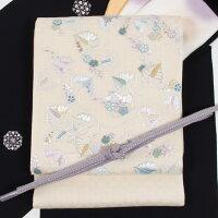 蘇州刺繍袋帯特選刺繍創作袋帯相良刺繍葵文/生成り地手刺繍お洒落帯超軽量帯