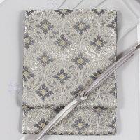 【西陣まいづる】西陣織正絹袋帯「麗花七宝文(鼠銀×金銀)」礼装用送料無料