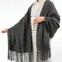 【奥順】真綿ショール「真綿まとうショール無地」グレー/灰色/祈和装ショール着物ショール「日本製」大判