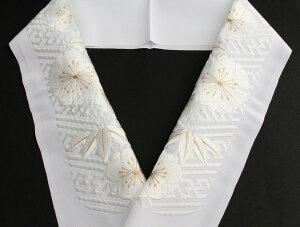 刺繍半襟振袖用半衿白白×金訪問着用着物用洗える紗綾形梅桜竹文ポリエステル「衿秀」日本製