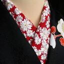【刺繍半襟】 赤地/七宝桜文(白金刺繍) 半衿 洗える ポリエステル 訪問着用 婚礼用 礼装用 振袖用 成人式 卒業式 「衿秀」