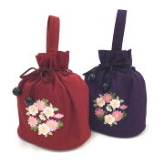 巾着バッグ おしゃれ 卒業式 はかま はかまバッグ きものバッグ かわいい 刺繍 きんちゃく 和装バッグ 花柄刺繍 袴バッグ 袴スタイル 和装 和装小物 着物 きもの キモノ kimono