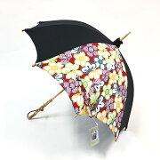 日傘 UVカット 岡重 長傘 持ち手バンブー レディース日傘 おしゃれ 岡重京友禅染め バンブー レッド 花柄 和装 着物 セール