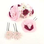 髪飾り 成人式 おしゃれ かみかざり かわいい 振袖用髪飾り 4点セット ピンク フラワー 振袖 ふりそで 和装 和装髪飾り 和装小物 着物 きもの キモノ kimono セール