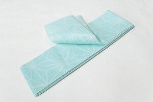 【レディース半幅帯】水色に麻の葉浴衣帯紗帯【k140626】