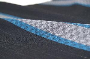 【送料無料】【メンズ反物】シルクウール市松模様変わり横縞ブラック系