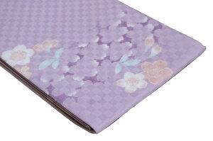 【ポリエステル半幅帯】紫市松桜