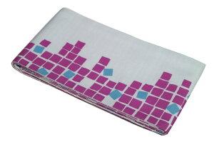 【綿の半幅帯】ピンク石畳・スクエアー
