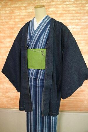 【レディース着物】女性デニム羽織ネイビーカラーフリーサイズカジュアル着物木綿洗える