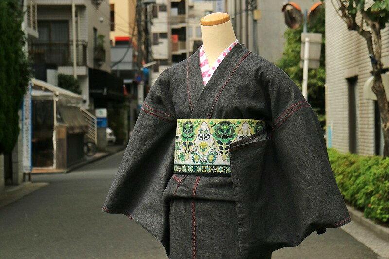【レディース ブラックデニム着物】 オールブラックタイプ デニム着物 <フリーサイズ> カジュアル着物 洗える着物