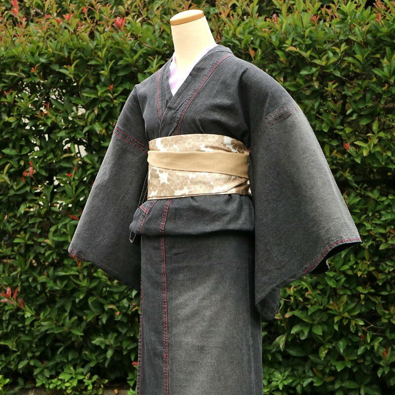 【レディース ブラックデニム着物】 ダメージ加工タイプ デニム着物 <フリーサイズ> カジュアル着物 洗える着物