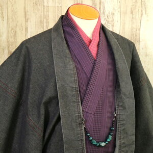【メンズブラックデニム羽織MH-4】ブラックデニムデニム羽織カジュアル羽織洗える着物〈MLLLサイズ〉コートジャケット