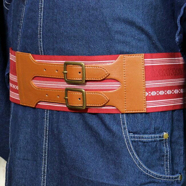 【バックルタイプ帯ベルト MO-42】赤色 献上柄 Mサイズ Lサイズ LLサイズ 着物ベルト 角帯 創作帯 作り帯 綿帯