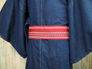 【バックルタイプ帯ベルトMO-42】赤色献上柄MサイズLサイズLLサイズ着物ベルト角帯創作帯作り帯綿帯