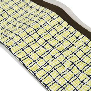 【半幅帯LO-65】黄色チェック半幅帯パッチワークポリエステル着物浴衣締めやすい長め可愛いよろけ格子サッシュベルトモダンカジュアル帯生成り