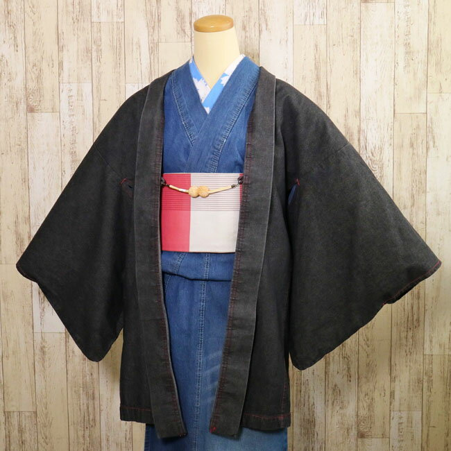 【レディース デニム羽織 LH-3】女性羽織り ブラックカラー フリーサイズ 木綿 洗える