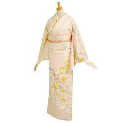 訪問着レンタルフルセット:H143袷/ピンク・クリーム白梅しだれ黄桜(ぴんく・くりーむはくばいしだれきざくら)