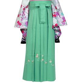 【袴レンタル】(フルセット):卒業式P089-LL(ミントグリーン×桜 刺繍) 卒業式 二尺 小振袖 レンタル 貸衣装 フルセット
