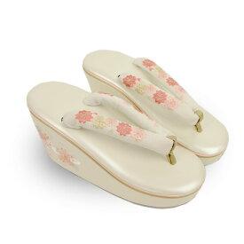 草履 単品 振袖 成人式 卒業式 結婚式 レディース 婦人 女性 桜 刺繍 白 フリーサイズ