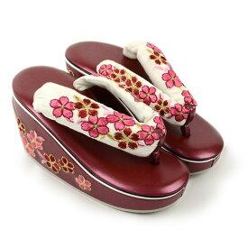 成人式 草履 振袖草履単品ラメと桜刺繍のヒール草履白ピンクフリーサイズ