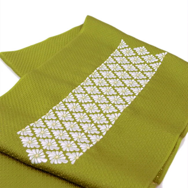正絹振袖用帯揚げ刺繍菱菊柄 黄緑色 メール便可 あす楽