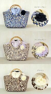たっぷり入る♪シフォンのお花が付いたざっくり編みのカゴバッグ
