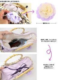 たっぷり入る♪シフォンのお花が付いたざっくり編みのカゴバッグ入る♪持ち手がついたモダン柄のふっくらバッグ