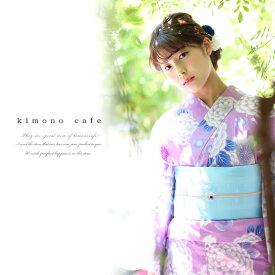 浴衣セット 浴衣と浴衣帯の2点セット紫ピンク菊(帯水色系)Sサイズ 大きい フリー メール便不可