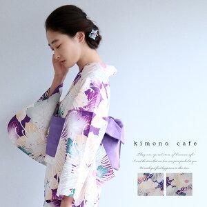 レディース 浴衣 単品 糸菊 ネイビー パープル Sサイズ フリーサイズ TLサイズ ワイドサイズ
