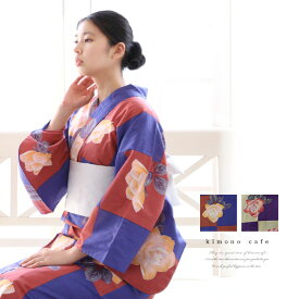 【ブラックフライデー】 レディース 浴衣 単品 市松薔薇 パープル ネイビー Sサイズ フリーサイズ TLサイズ ワイドサイズ